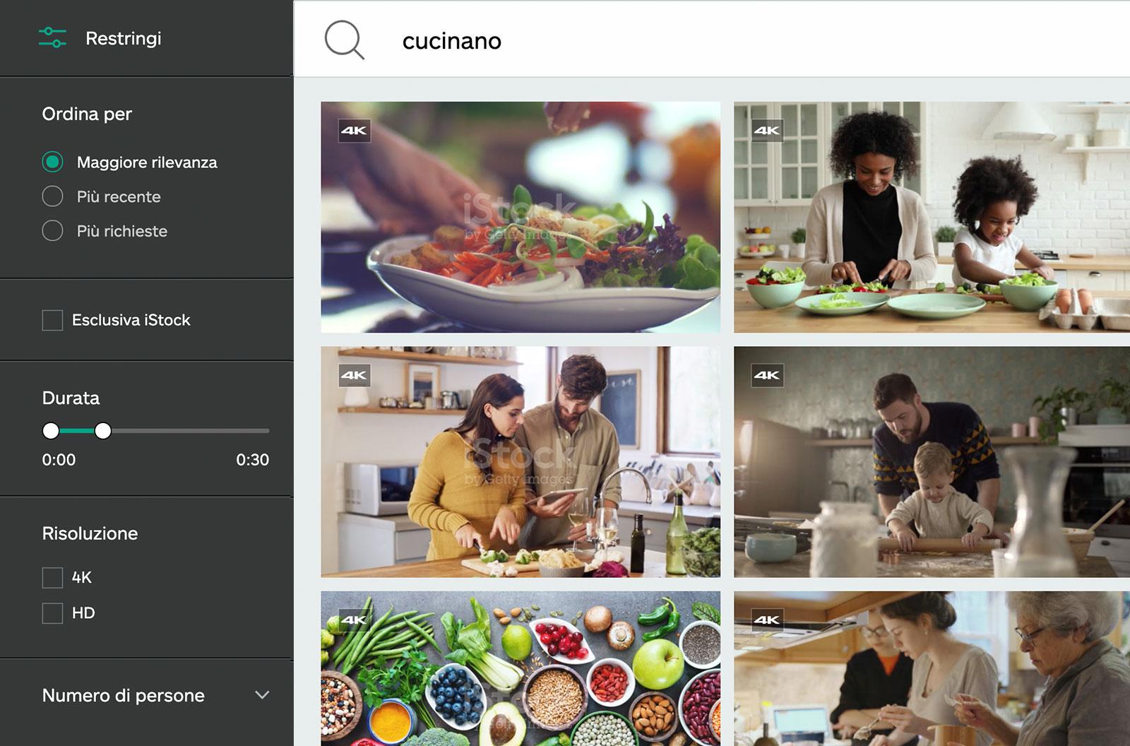 Screenshot dei risultati della ricerca di video per la parola chiave: cucinare