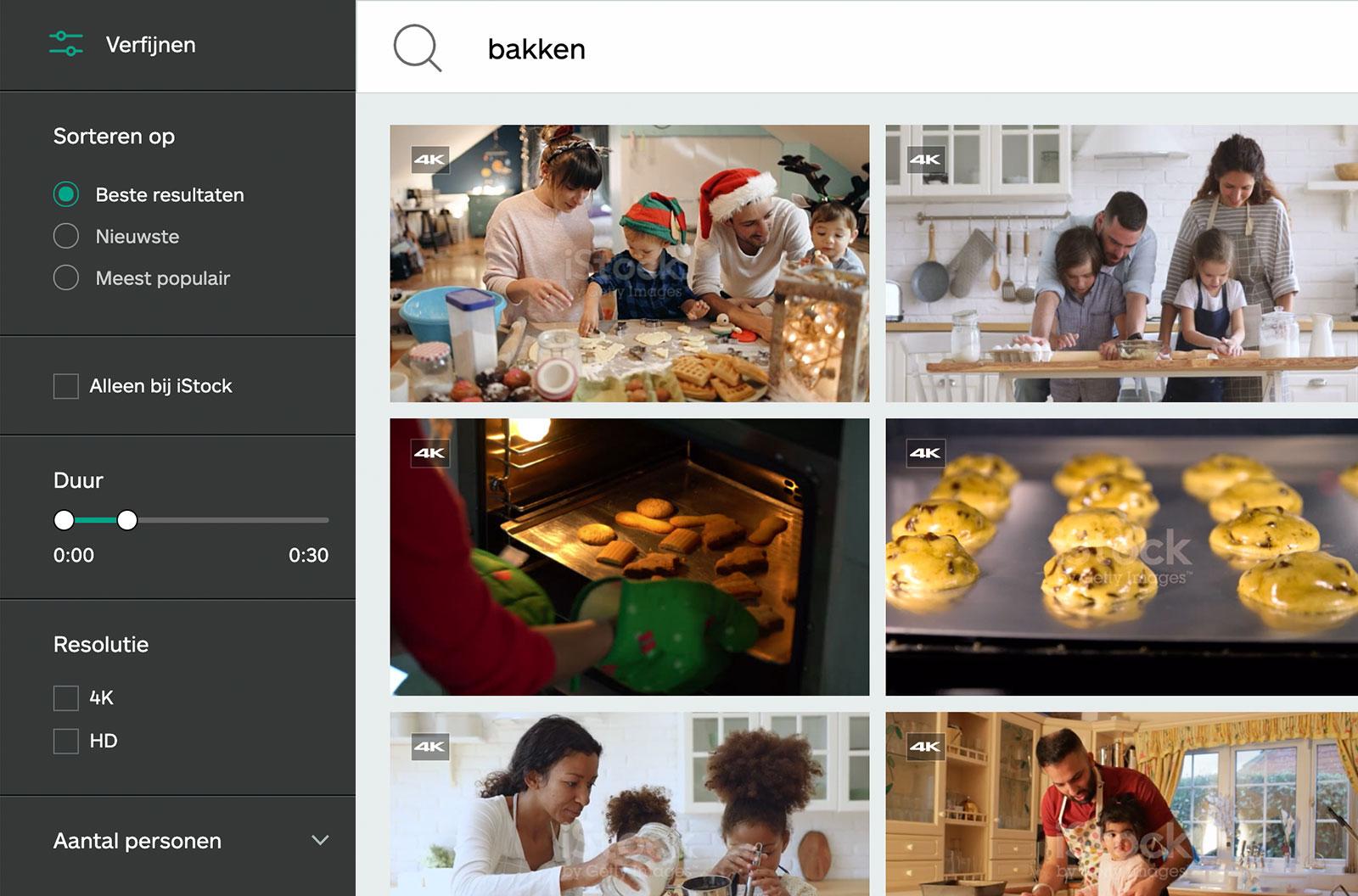 Screenshot van zoekresultaten voor bakvideo