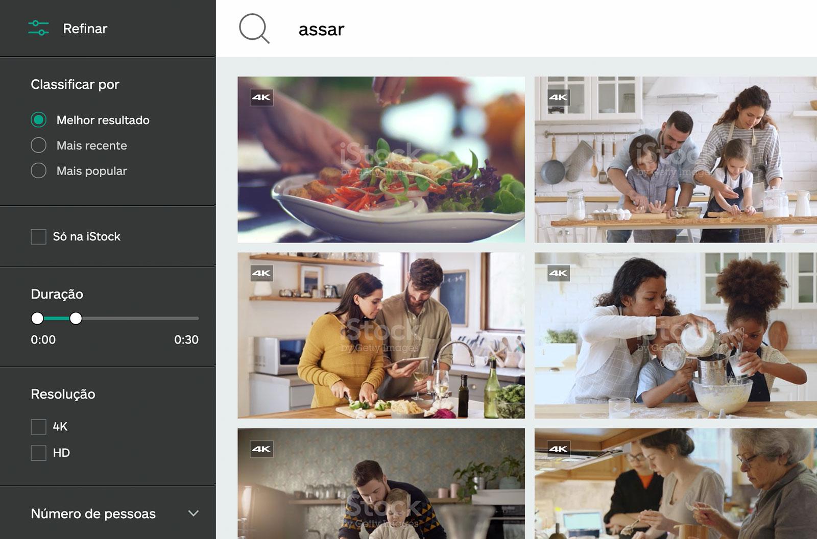 Print de tela dos resultados da pesquisa de vídeos de culinária