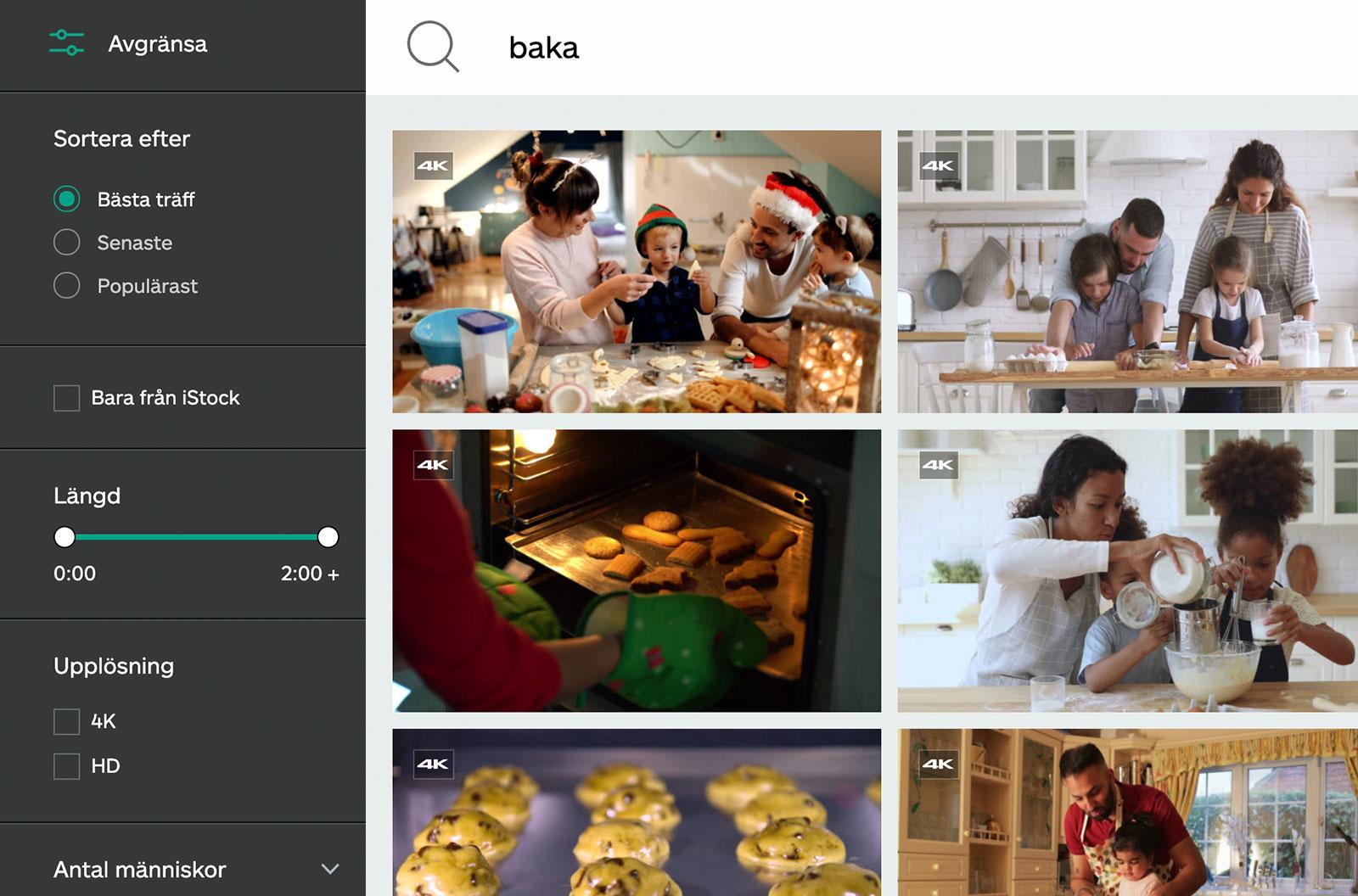 Skärmbild av sökresultat för video om bakning